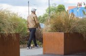 Corten Steel Planters With Laser Cut Elephant Decal