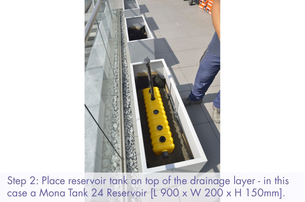 Insert reservoir tank in your container planters