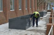 Close Granular Texture Granite Planters