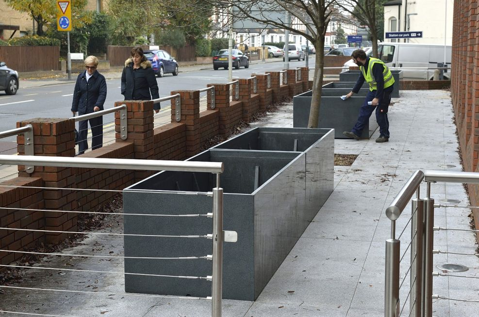 Foreground Planters Made From Granite
