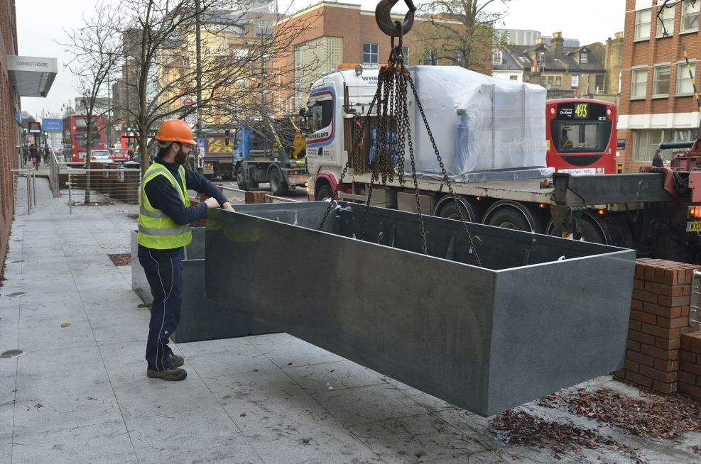 Long Bespoke Stainless Steel Planters Made By IOTA