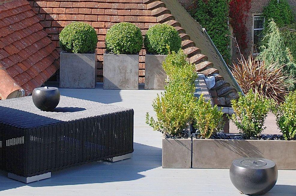 Contemporary Roof Terrace Planters Featuring IOTAS Fresco Range