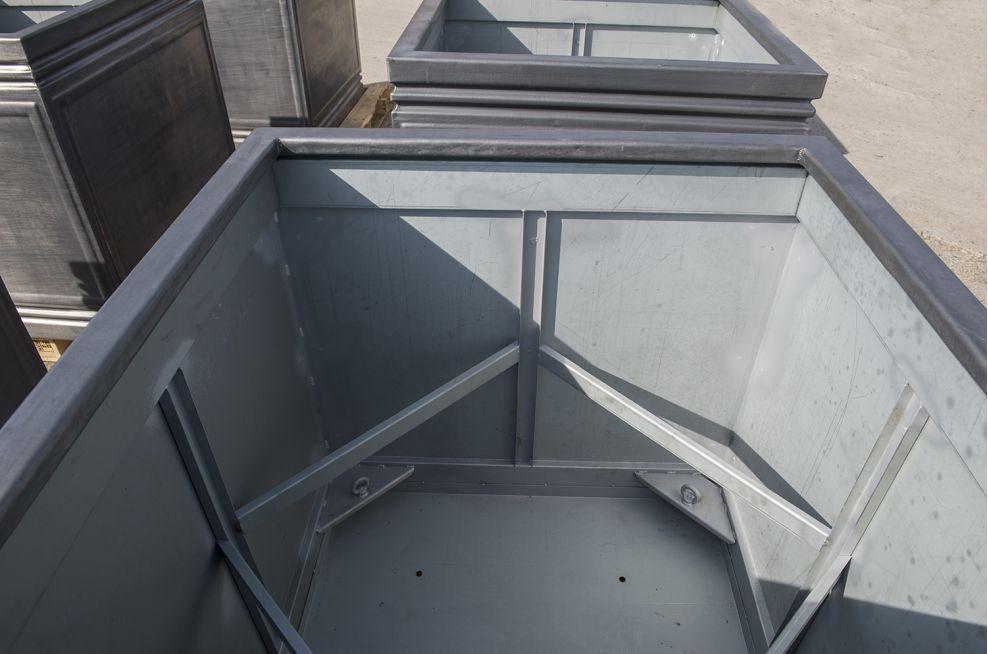 IOTA Designed Lead Planters With Steel Subframe