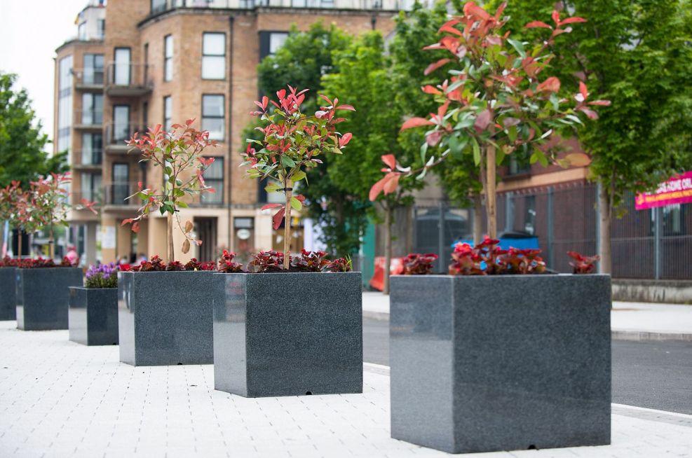 Granite Cube Planters and Granite Trough Planters