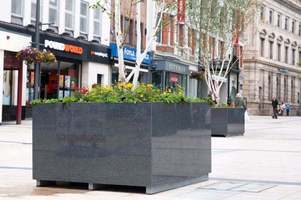 Large Granite Tree Planters