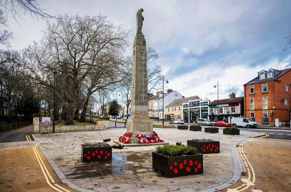 Commemorative poppy planters at the Doncaster Bennethorpe War Memorial