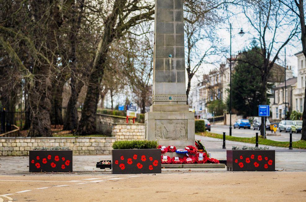 Bennethorpe War Memorial artwork planters