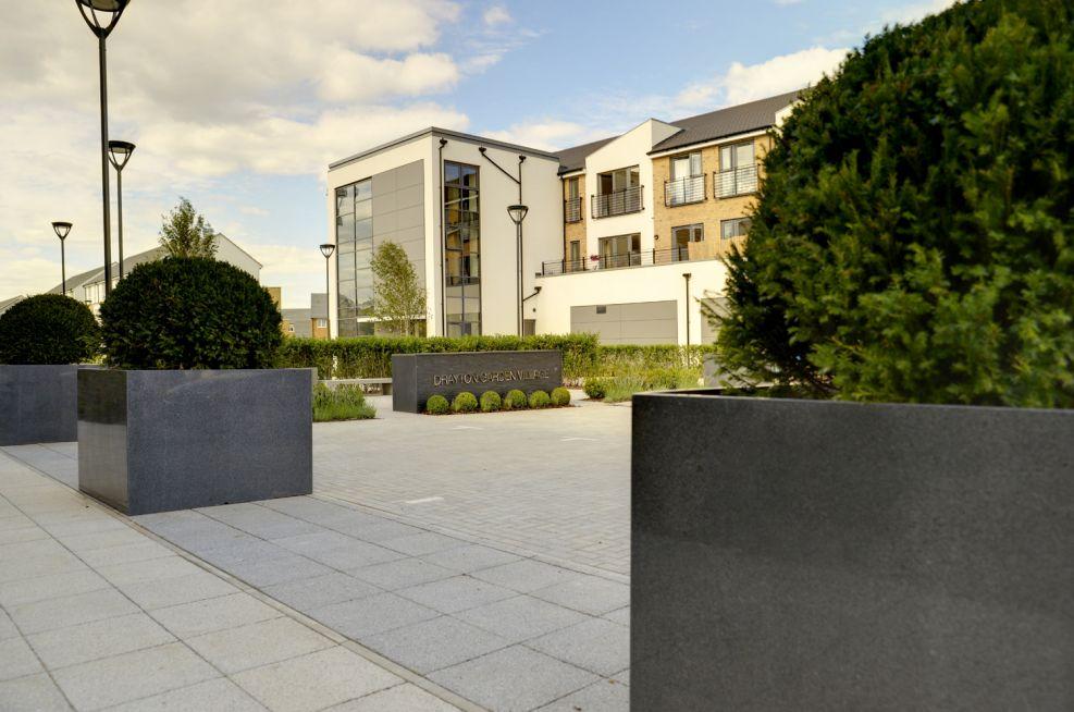 Bbespoke Granite Tree Planters at Drayton Garden Village