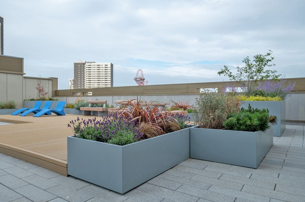 Bespoke steel rooftop garden planters