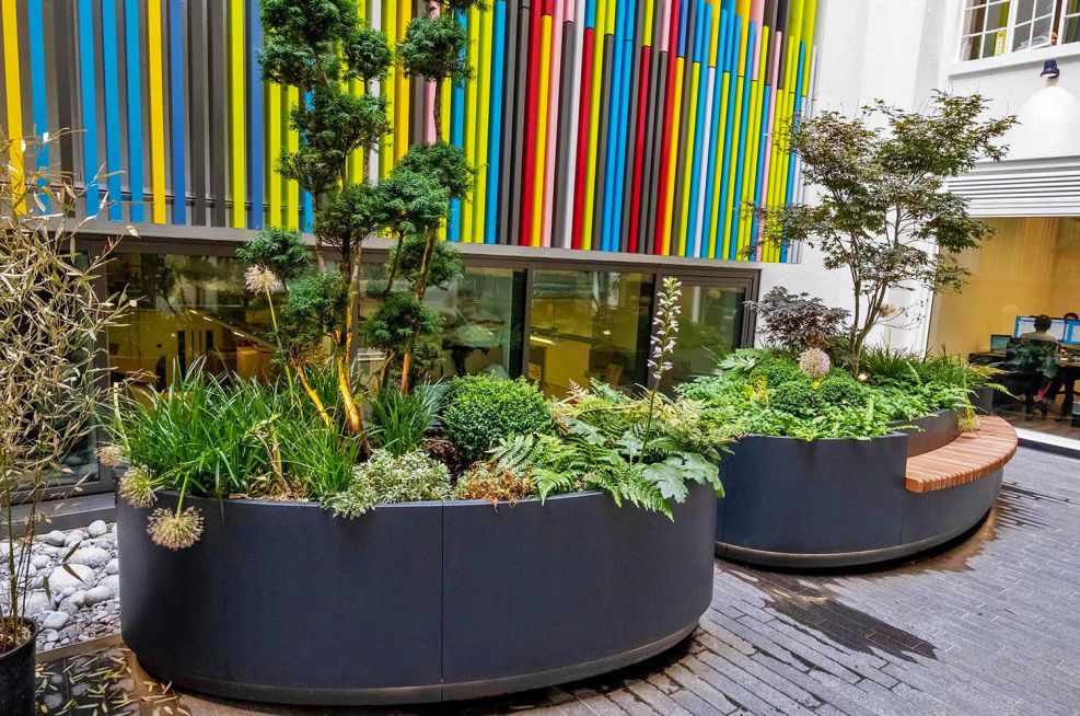 Oval shaped steel planters