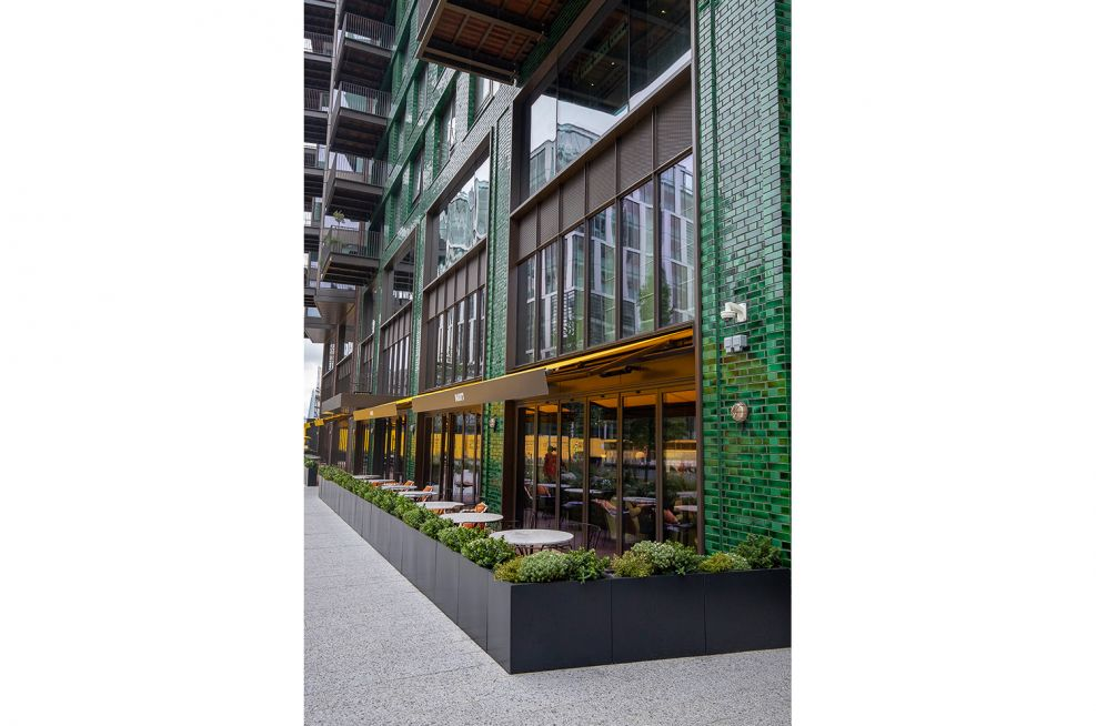 Boundary Planters for Commercial Restaurant Seating Area