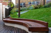 CAD machined waved timber bench
