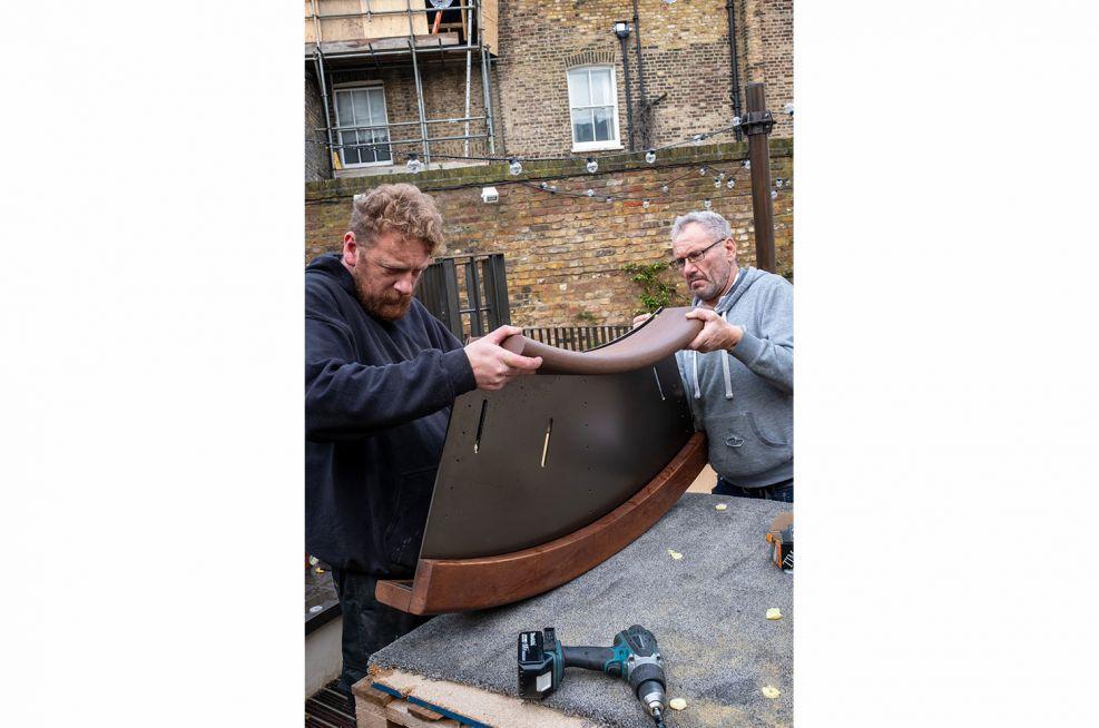 Hardwood benching with metal frame