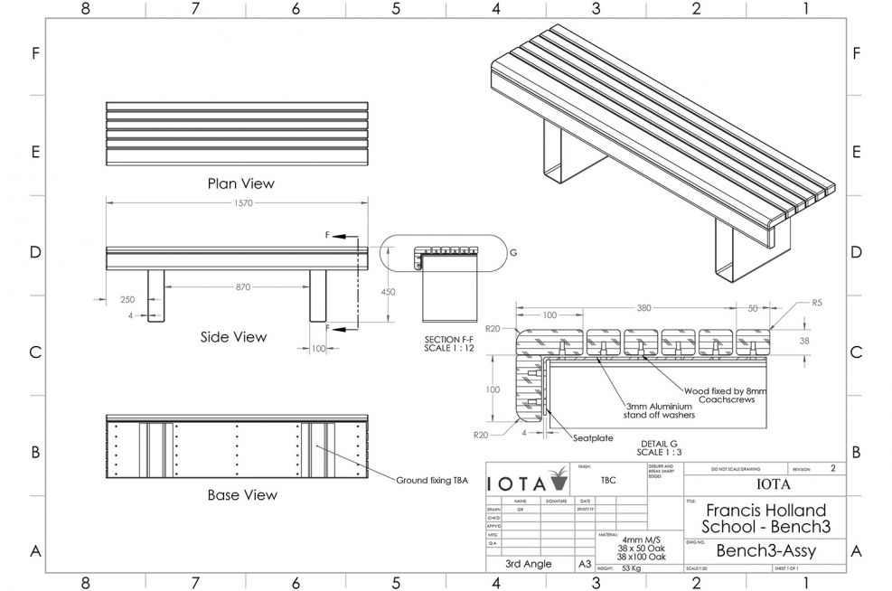 Custom bench seating CAD design