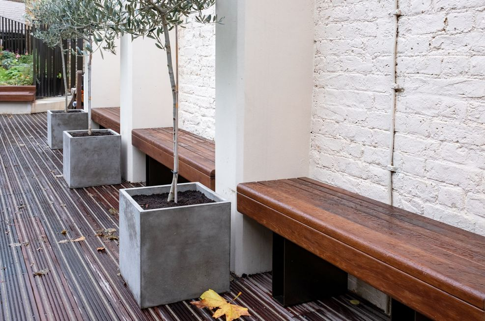 Bespoke timber benches and metal supports