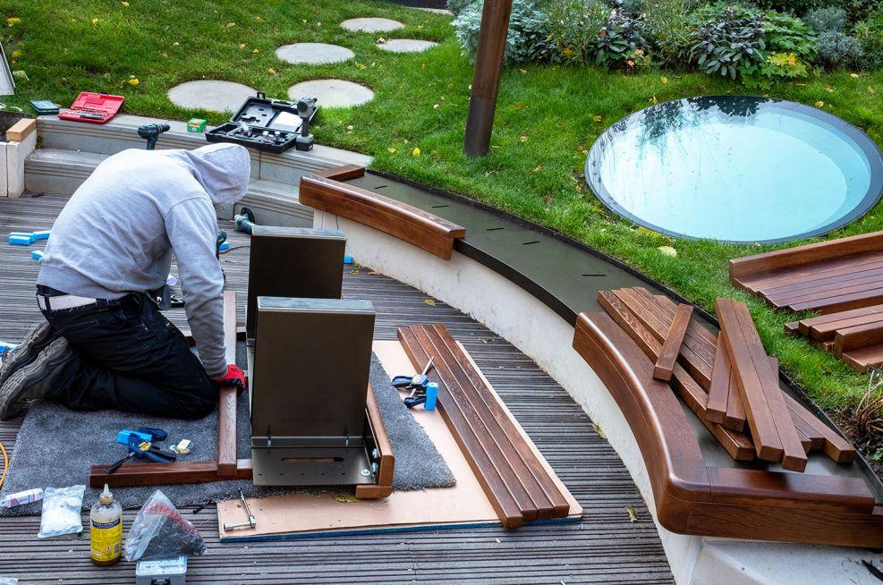 External hardwood garden benching