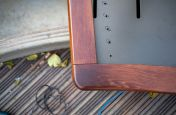 Oak bench angled corner detail
