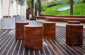 Solid timber courtyard stools