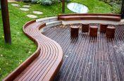 Waved FSC hardwood bench seating