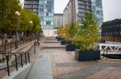 Matching tree planters for public spaces