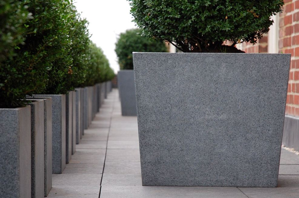 Granite Stone Planters With A Honed Finish