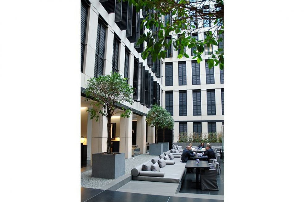 Large Granite Cube Planters In The Central Courtyard Space