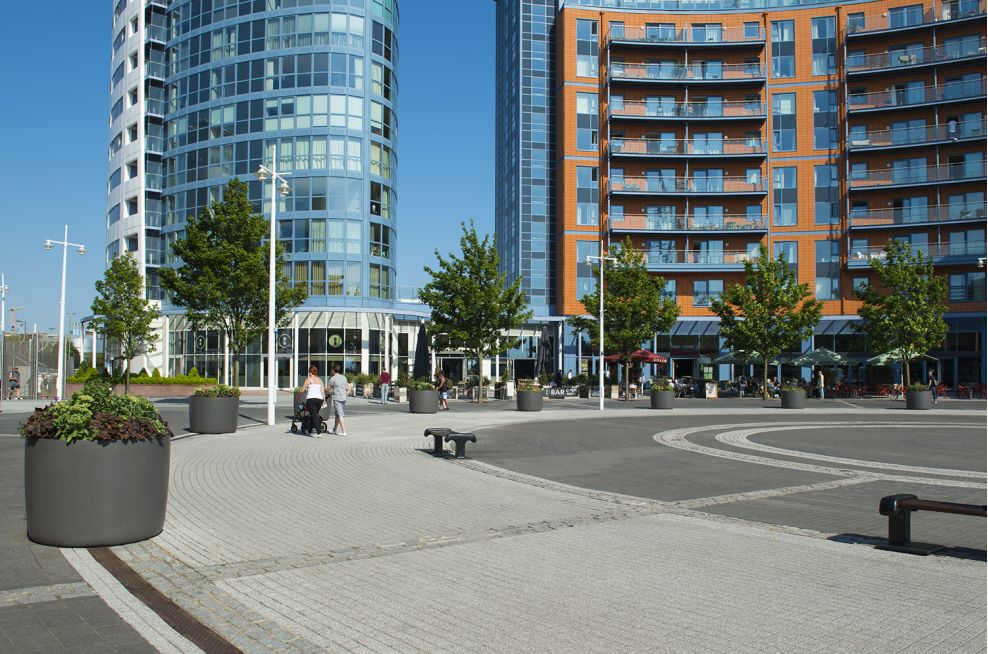 Boulevard planters at Gunwharf Quays Supplied By IOTA