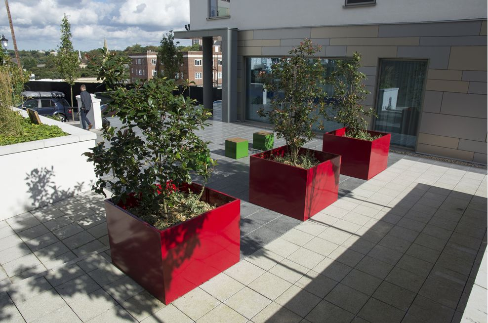 Internally Reinforced Steel Tree Planters At The Hampton By Hilton