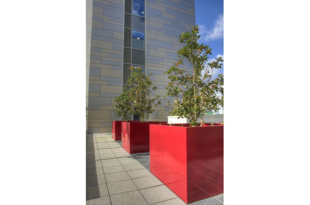 Large Bespoke Tree Planters With A RAL 3003 Powder Coating