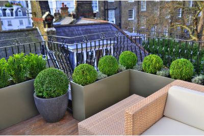 Bespoke Powder Coated Steel Planters at Hans Place Knightsbridge
