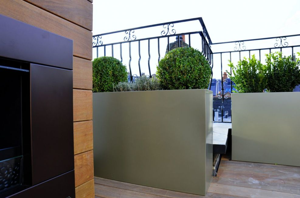 Pearl Mouse Grey Steel Planters