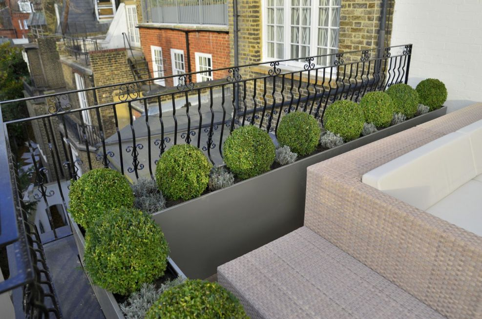 Steel Planters Powder Coated In Pearl Mouse Grey