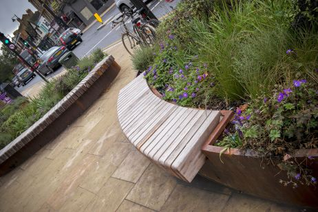 Bespoke Corten Steel Street Planters Benches For Ealing Council