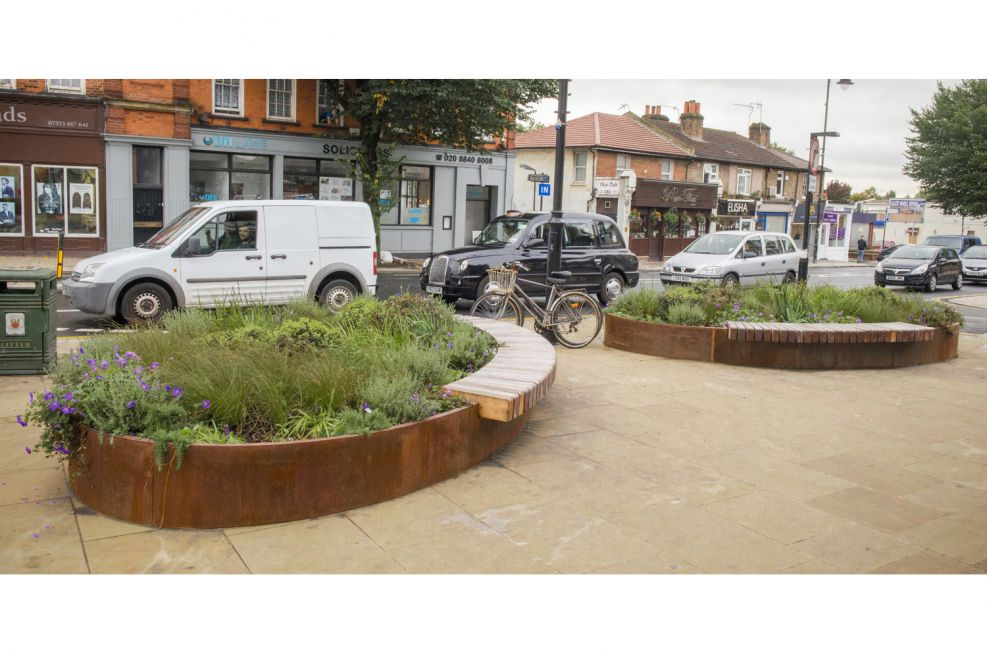 Bespoke Corten Steel Street Planters Benches with Hardwood Timber