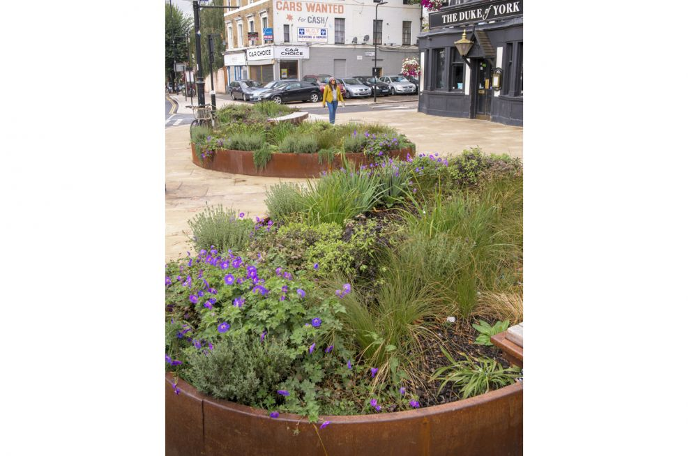 Corten Steel Public Realm Planters with Benching