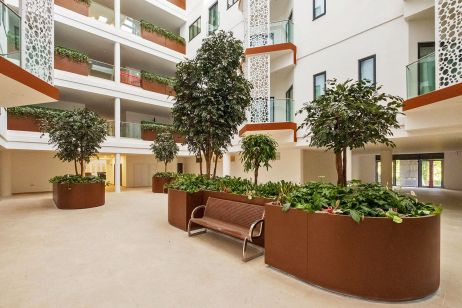 Large bespoke steel planters for atrium