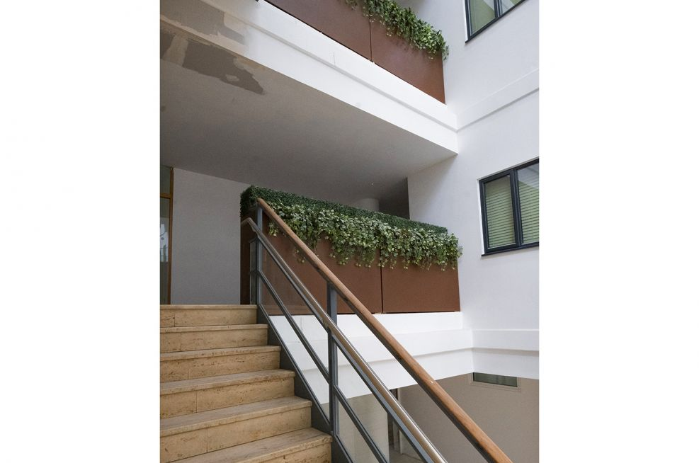 Stairwell and atria steel safety planters