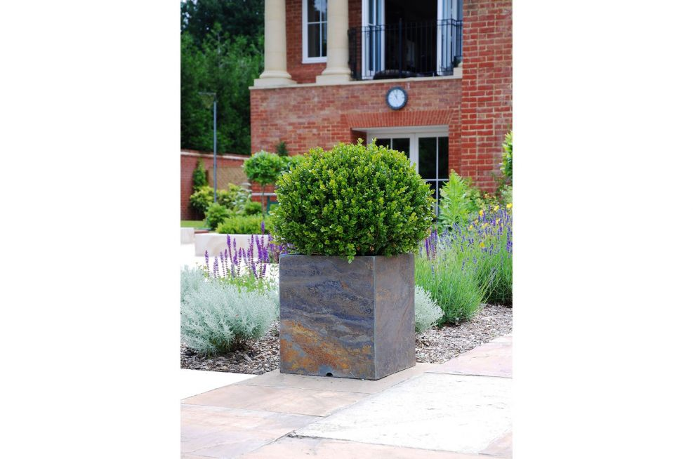 Outdoor Square Planters Around Residential Property