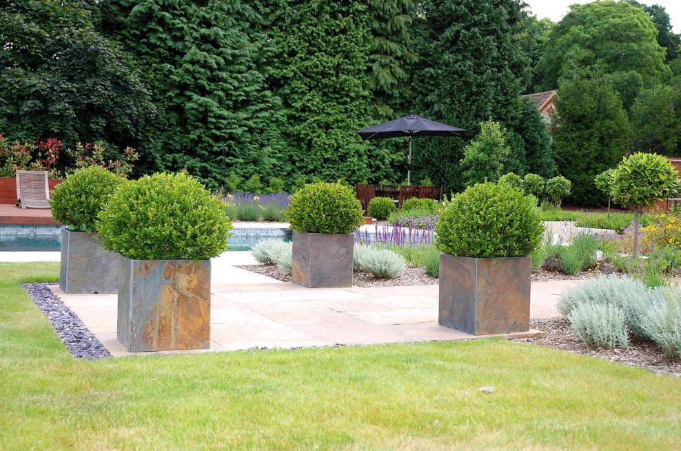 Square Planters In Large Size Made From Slate