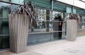 Large Bespoke Steel Planters At The Hilton Hotel