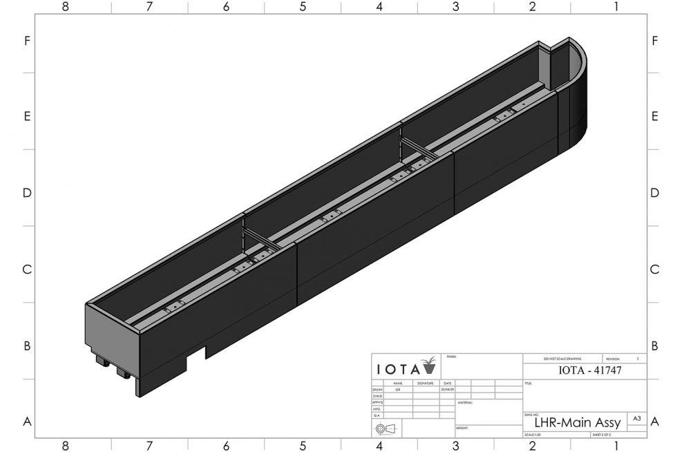 Aluminum planter CAD design