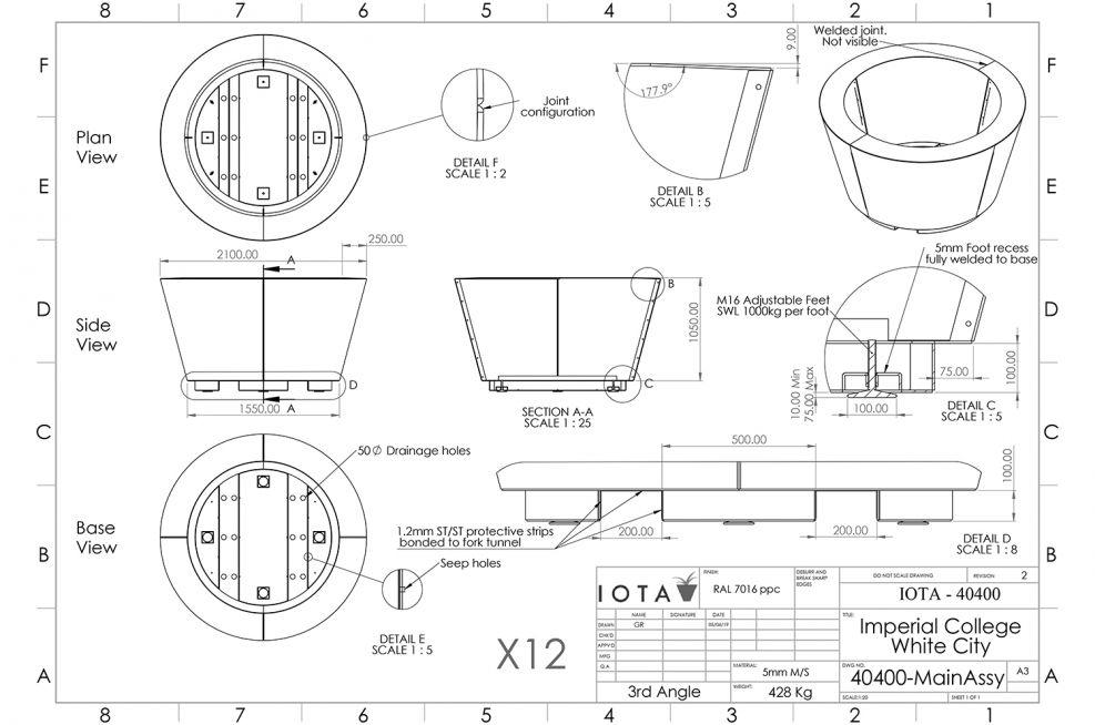 Conical planter CAD design