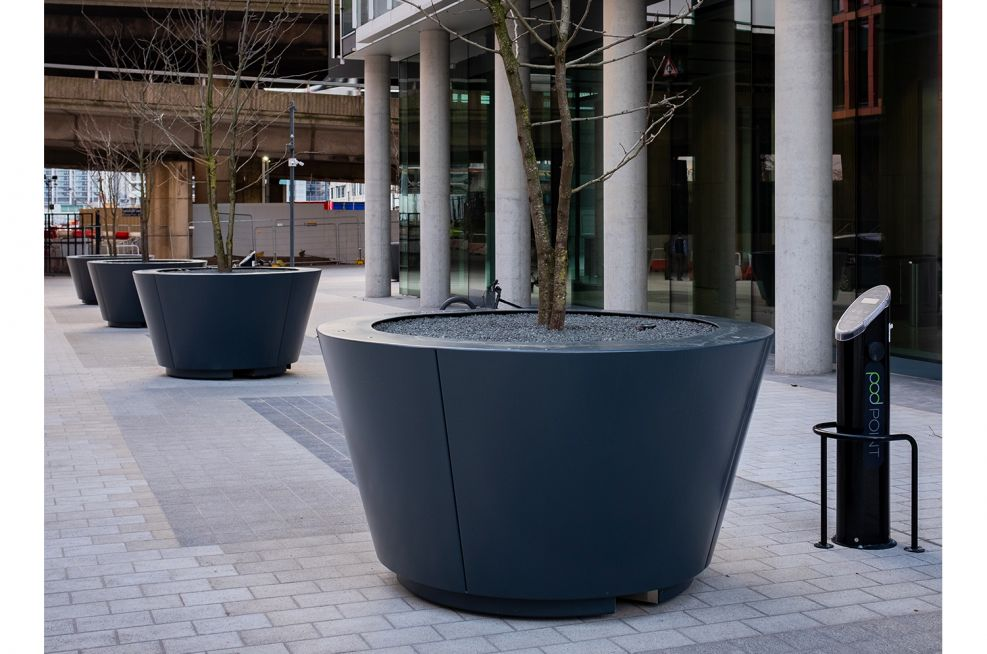 Bespoke conical steel planters