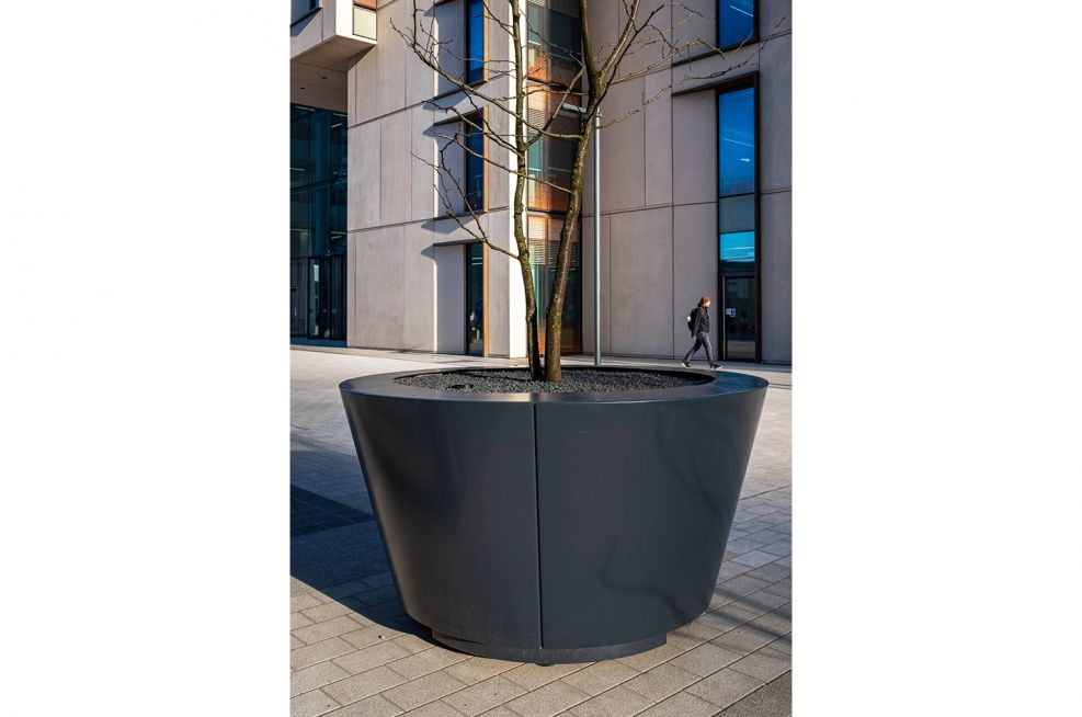 Bespoke powder coated conical planters