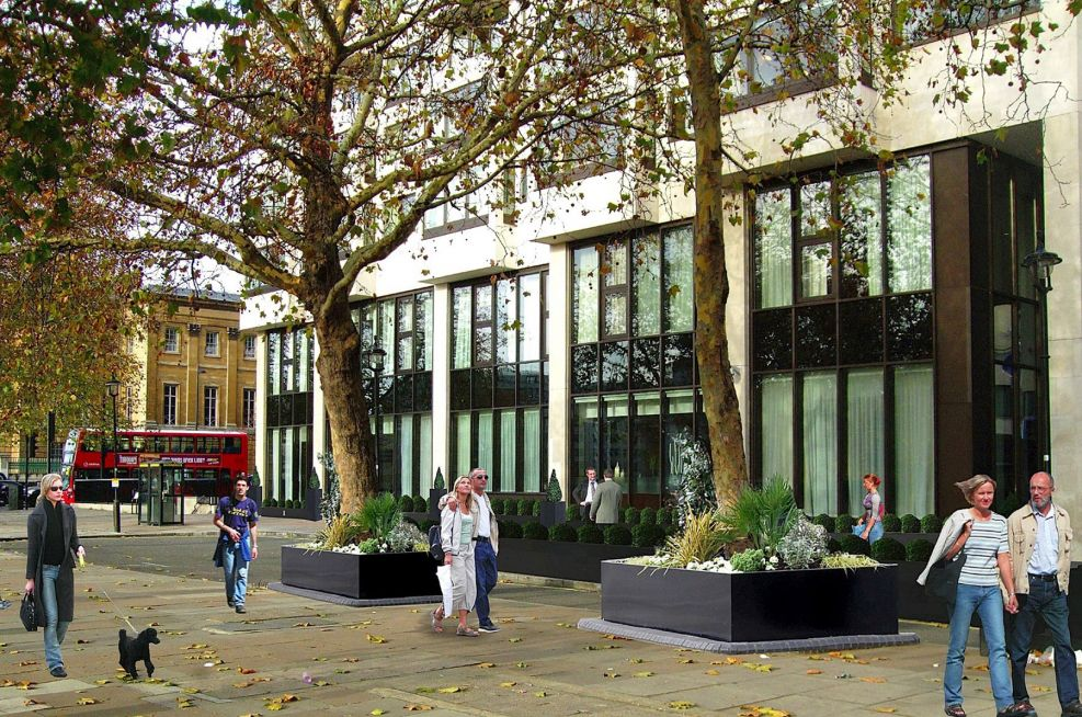 CAD Visualisations Of Tree Planters And Planter Frontage At Intercontinental Hotel London