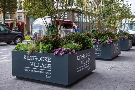 Bespoke, movable, branded planters for Berkeley Homes' Kidbrooke Village development in Greenwich, London SE3
