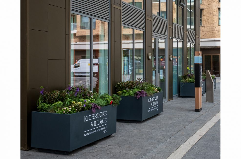 Commercial planters with branding
