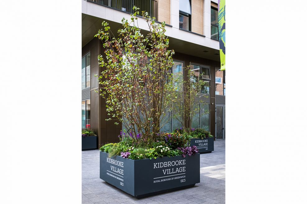 Street planters with decal branding