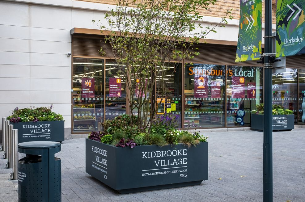 Movable street planters in London