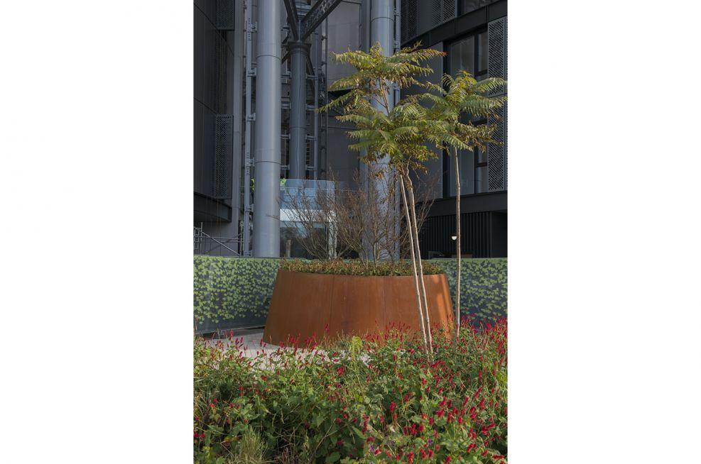 Cone-shaped Corten Steel planters